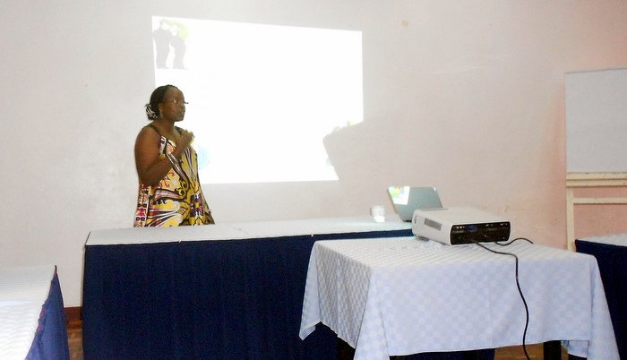 Facilitating a presentation on health communication and promotion within an organization to the Nuru Kenya administration team during our team building exercise in Mombasa in May 2014