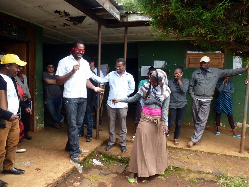 Nuru Healthcare Manager Zelalem Abera and Nuru Leadership Trainer Temesgen Berihun facilitate a servant leadership learning exercise at the  October Maternal and Child Health training.