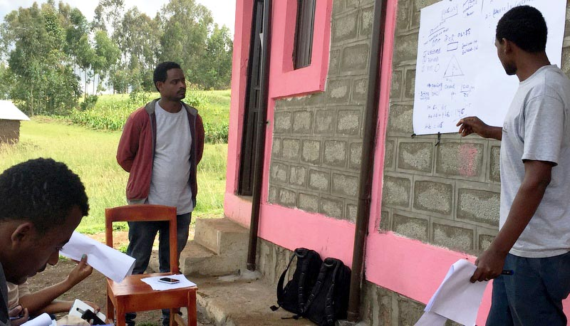 Tilahun Chanche trains Nuru Ethiopia enumerators on data collection for the upcoming Harvest Yield Survey