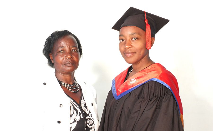 Pauline Wambeti, graduating with the BA in Community Development, and her mother