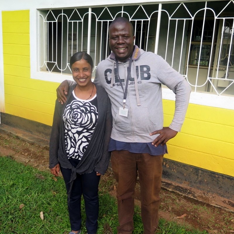Feven Yimer, Nuru Ethiopia Education Program Manager, and Ambrose Maroa, Nuru Kenya Education Program Manager, bond during the experience sharing week.