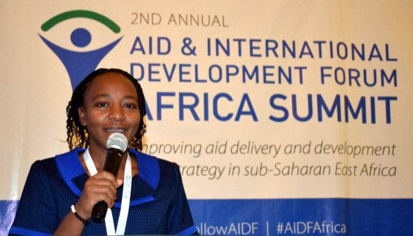 Pauline Wambeti, Nuru Kenya Country Director giving a speech during the AIDF-Africa Summit held in Nairobi
