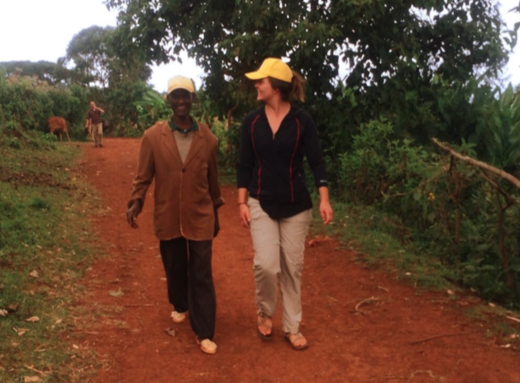 Becca chatting with a Nuru co-op manager after a field visit in the Boreda region.