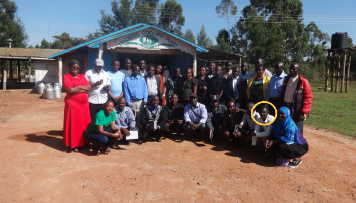 The 14 Co-operative Chairpersons and Nuru Kenya team during a learning visit at Lelchego Dairy Farmers Co-operative (Dec 2016); Mr. Rioba (highlighted) represented Rebwi Farmers Co-operative Society