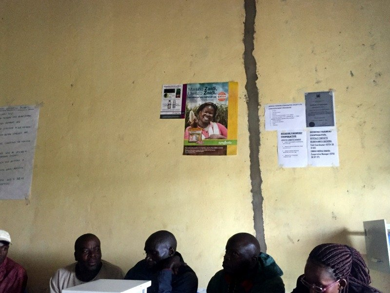 "Ikerege Farmers Cooperative displaying promotional materials for hybrid seed and high quality FAW pesticides on their office walls, during a visit in March 2018 we discussed health & safety strategies and the importance of ""chemical rotations"" to combat FAW resistance"